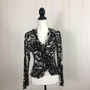 Joseph Ribkoff Floral embellished Front Zip Jacket